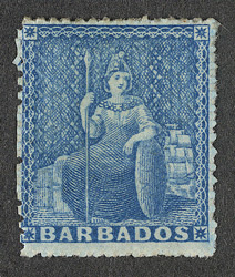 Barbados: 1861-70 (1d.) blue, unused.